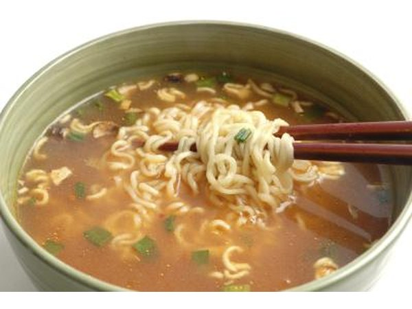 Instant ramen noondles in broth