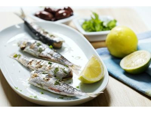 Plate of sardines with lemon