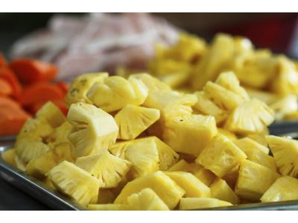 Cut fresh pineapple