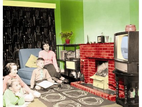1950's era family watching television
