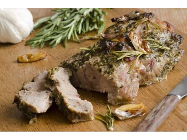 Roast pork shoulder with honey, garlic and rosemary