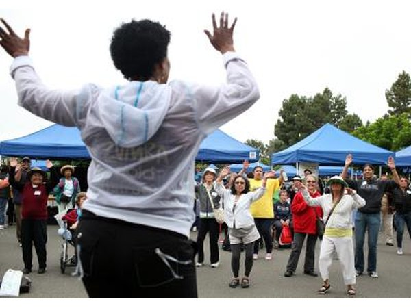Seniors participate in Zumba class at Healthy Living Festival in Oakland, CA.