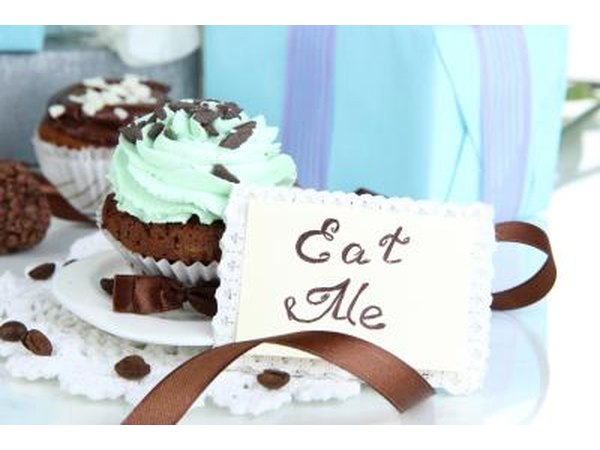 Chocolate wedding cupcakes topped with turquoise icing