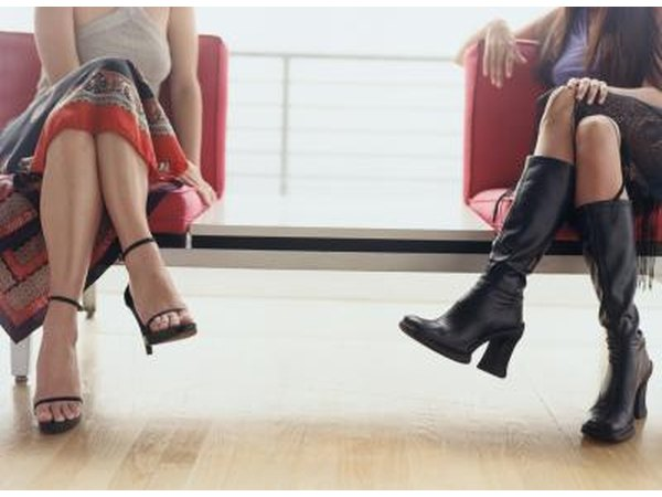 Avoid wearing high heels for extended periods of time and sitting with your legs crossed at your knees.