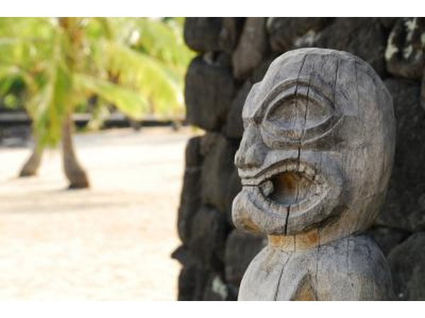 A wooden statue of a Tiki god in Hawaii.