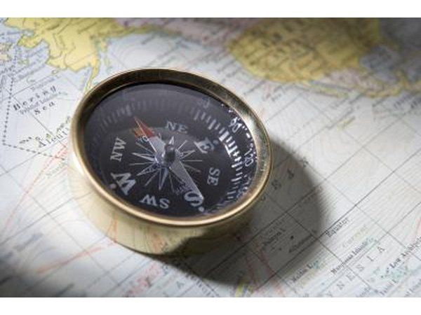 Compass on top of map
