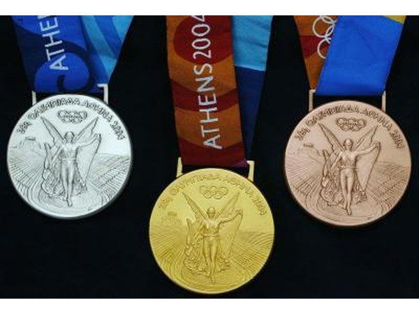 Olympic medals from 2004 Summer Olympics in Athens, Greece