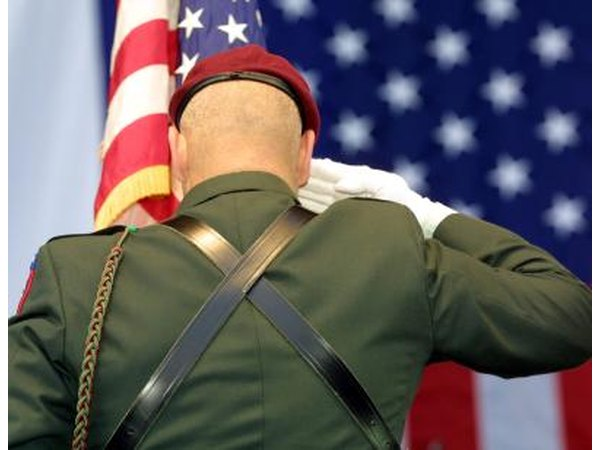 U.S. Army Airborne Ranger saluting the flag