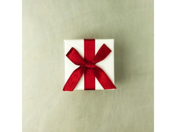 Holiday wrapped gift box with bow.
