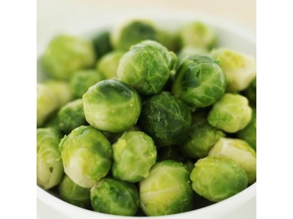 A bowl of Brussels sprouts.
