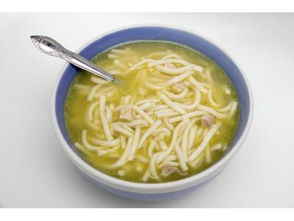 A bowl of simple chicken soup.