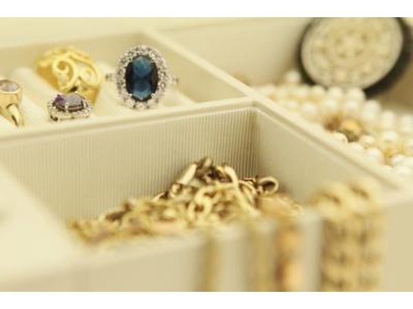 Rings and necklaces in jewlery box