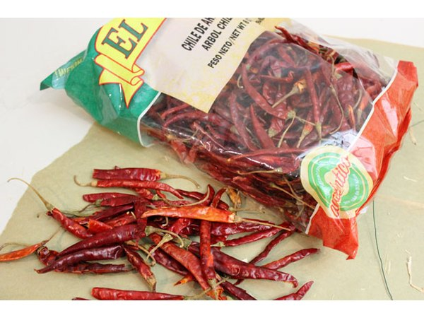 Look for dried arbol chiles on the international aisle of your grocery store.