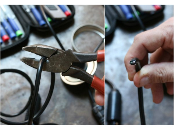 Electrical pliers or diagonals work best when cutting wire.
