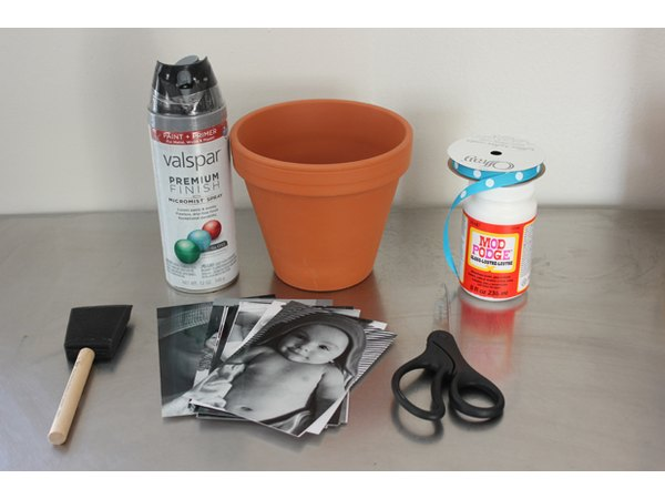 Supplies for memory photo flower pot.