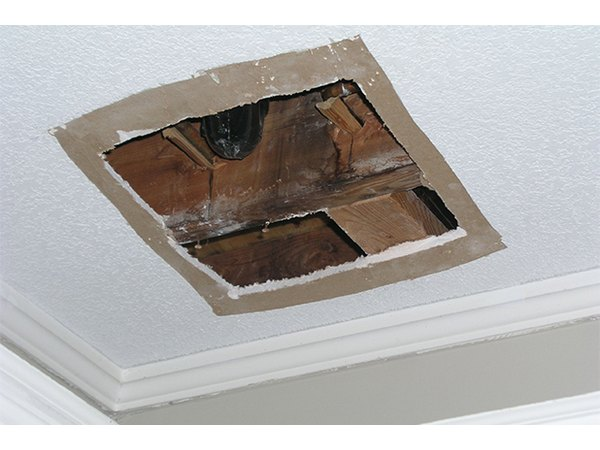 The hardest part of a ceiling repair is working over your head.