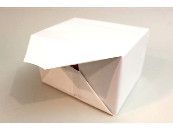 Cover the box in white gift wrap.
