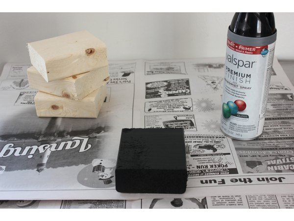 Paint wooden blocks in thin, light coats.