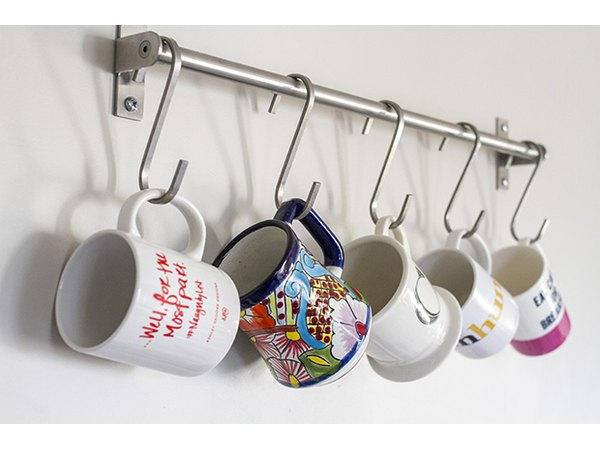 Turn your mugs into decor for the kitchen.