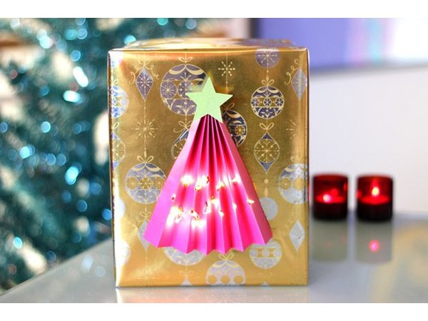 A battery-powered gift lights up the room.