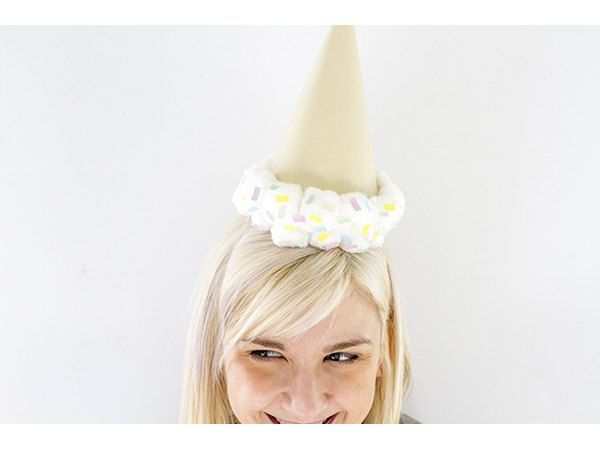 Create your own upside-down ice cream cone party hat.