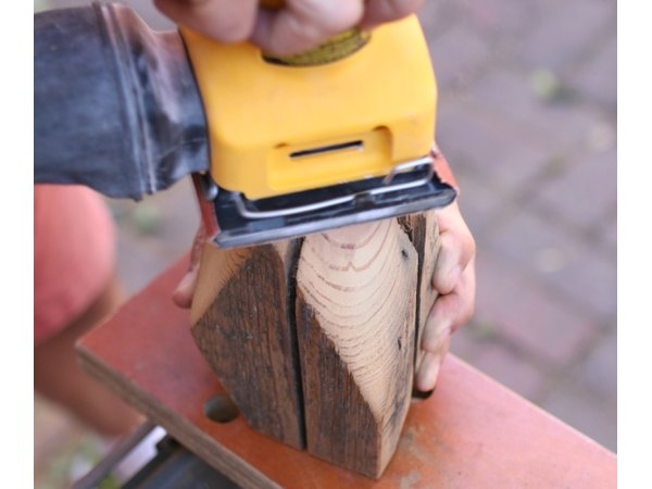 A palm sander works well to smooth out edges.