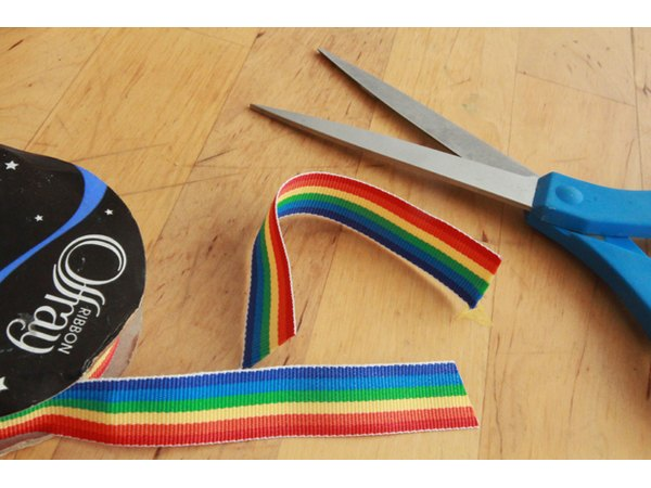 Cut the rainbow ribbon.
