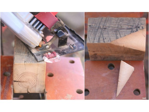 Cut off the block corner to make faceted sides.