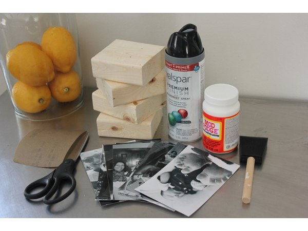 Supplies for wooden photo blocks