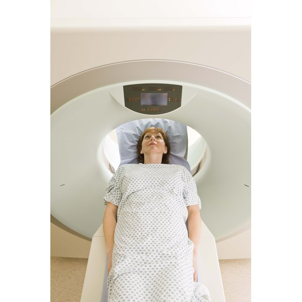 Patient in hospital getting CAT scan