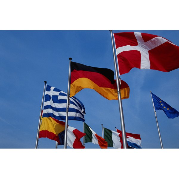 European community flags on poles