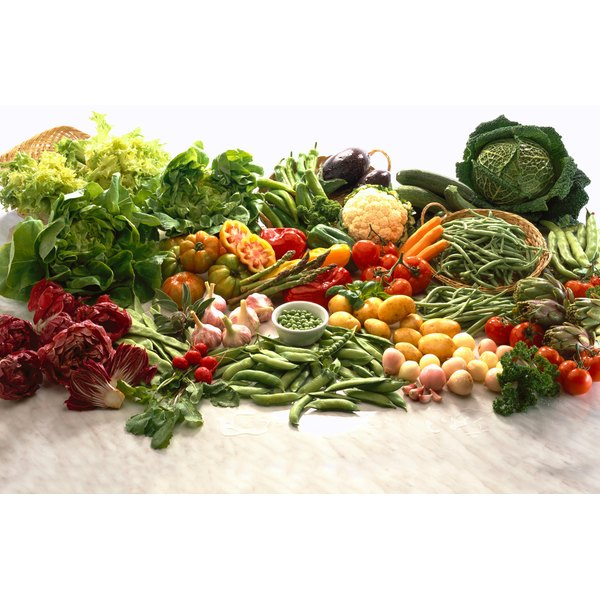 close-up of an array of fresh vegetables and fruit