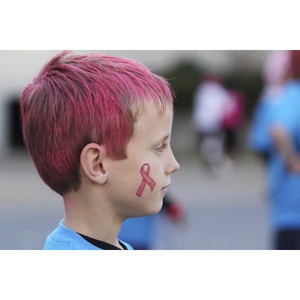 Boy with pink hair and breast cancer awareness ribbon