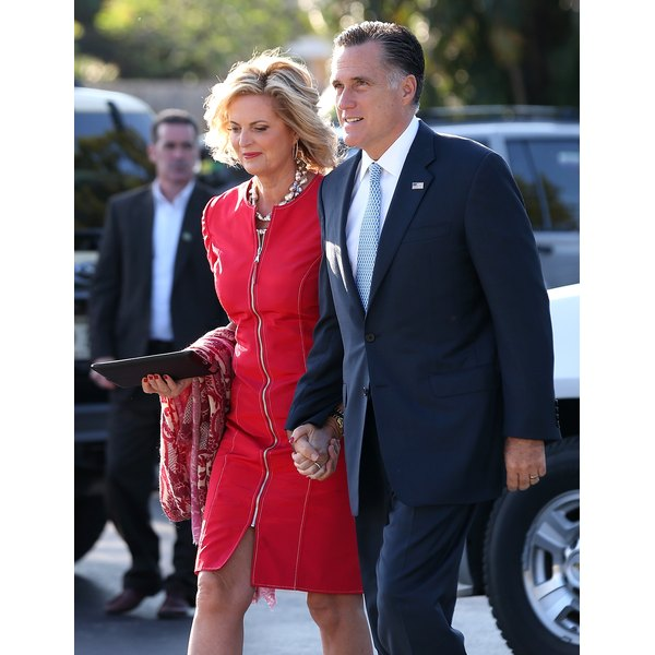 Ann Romney demonstrates acceptable fashion for Sunday services in the Mormon church.