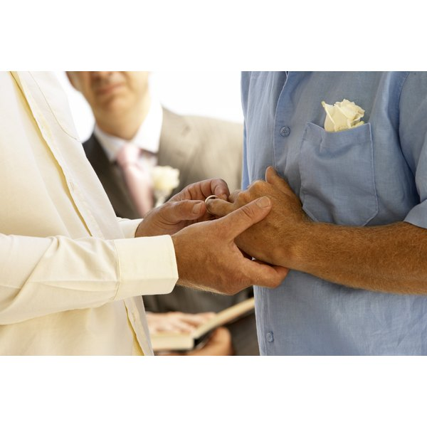 Couple's hands during a wedding ceremony