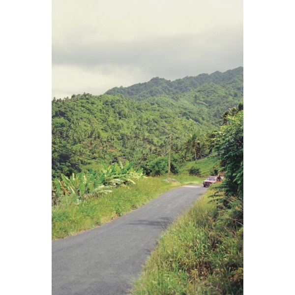 Deserted country road, Carib Territory, Dominica, Caribbean