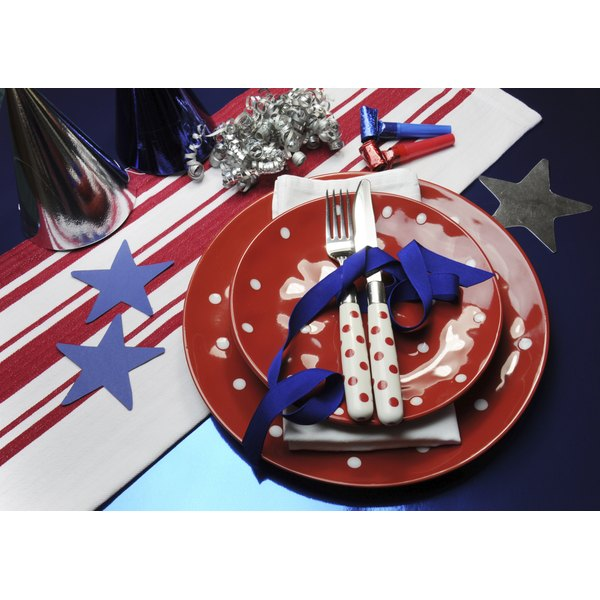 Red, white and blue party table setting.