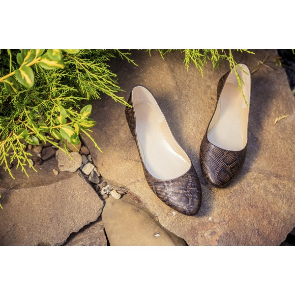 snakeskin ballet flats, women's shoes on a rock