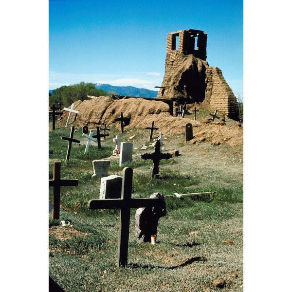 Old cemetery by Navajo adobe ruins, New Mexico