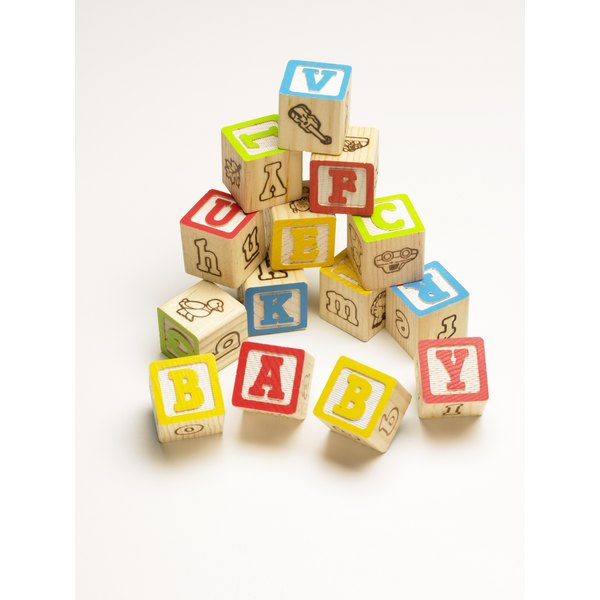 Alphabet building blocks spelling baby