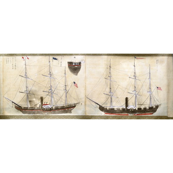 Japanese rendering of two American ships from expedition of Matthew Perry