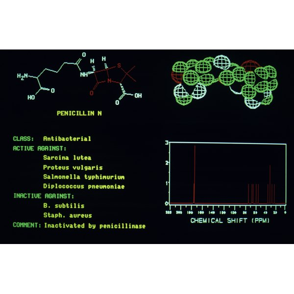 Computer screen image of penicillin molecule