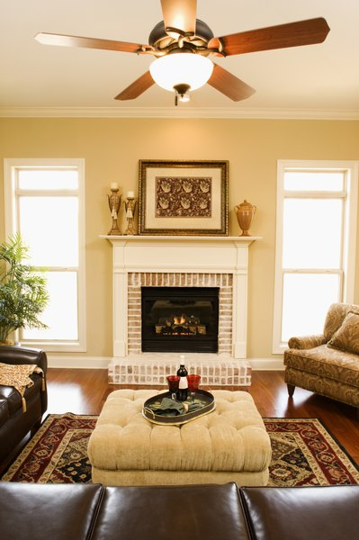 place a living room ceiling fan in the center of the room
