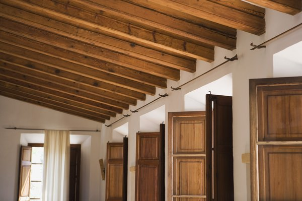 How to make a ceiling with corrugated steel home guides for Exposed wood beam ceiling