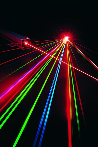 Laser pointers emit photons of light onto a surface.