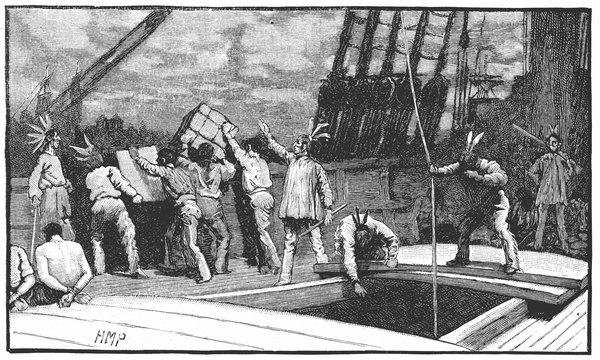 "american revolution and boston tea party ""the destruction of tea at boston harbor"" lithograph, depicting the 1773 boston tea party, by nathaniel currier for many people, the boston tea party was a waste of a lot of good tea for others it was one of the most significant moments in american history."