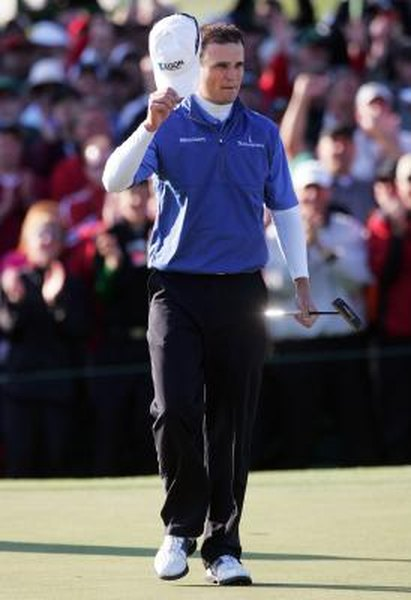 Zach Johnson holds his SeeMore putter after winning the 2007 Masters.