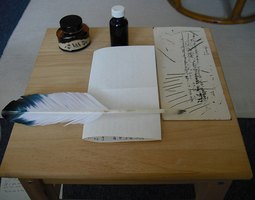 Quill pen and supplies