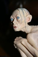 Resin model of Smeagol from The Lord of The Rings.