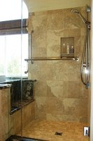 Custom tile shower and shower pan